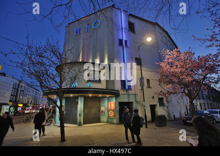 London, UK. 25th Mar, 2017. A view of The Rio Cinema in London. Photo date: Friday, March 24, 2017. Photo credit - Stock Photo