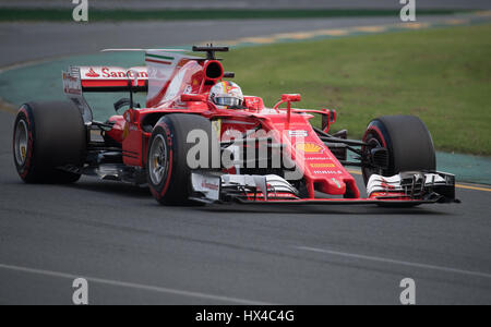 Melbourne, Australia. 25th Mar, 2017. Scuderia Ferrari Formula One driver Sebastian Vettel of Germany drives during - Stock Photo