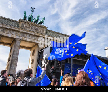 Brandenburg Gate, Berlin, Germany, 25th March 2017. The March for Europe in Berlin. People gathered at the Brandenburg - Stock Photo