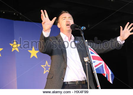 London, UK. 25th Mar, 2017. Ant-Brexit rally: Tim Farron-speaks at Westminster Credit: reallifephotos/Alamy Live - Stock Photo
