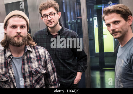 Craig Saunders (L-R), Ian Hooper and Claudio Donzelli from the band 'Mighty Oaks' can be seen after an interview - Stock Photo