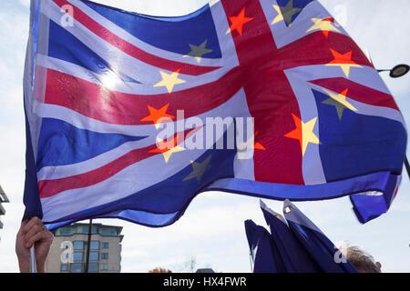 London UK 25th March, 2017. Union Jack flag with European stars. CREDIT: Steve Parkins/Alamy Live News - Stock Photo