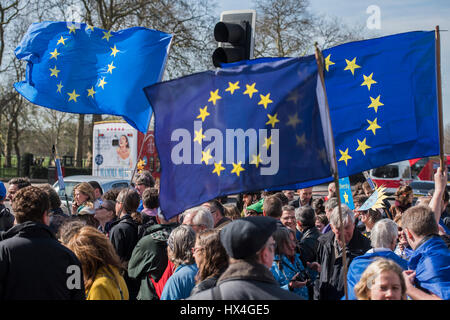 London, UK. 25th March, 2017. Unite for Europe march attended by thousands on the weekend before Theresa May triggers - Stock Photo