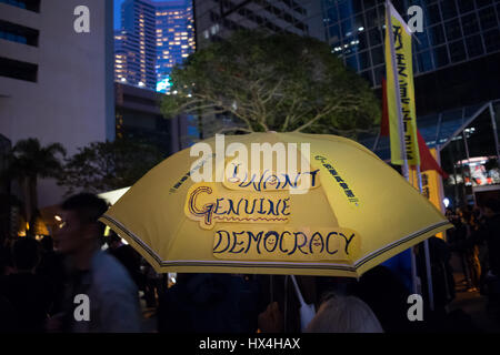Hong Kong SAR, China. 25th March, 2017. Democracy protests and demonstrations as Hong Kong votes for a new Chief - Stock Photo