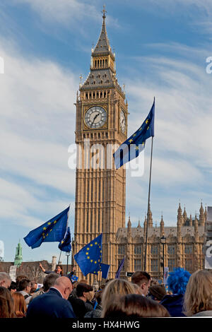London, UK. 25th Mar, 2017. Demonstrators gather in Westminster following a march from Park Lane to demonstrate - Stock Photo