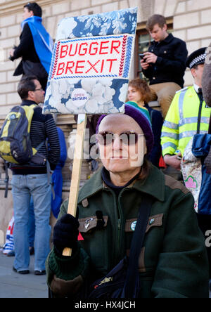London, UK. 25th Mar, 2017. Protesters in the Unite for Europe march demonstrate on the streets of Westminster, - Stock Photo
