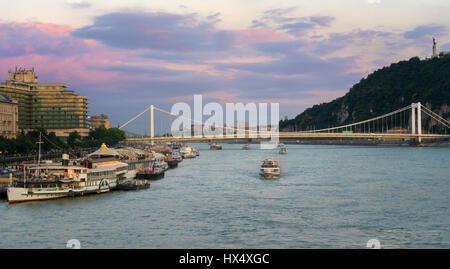 Beautiful Elisabeth Bridge Seen from Buda Castle - Stock Photo