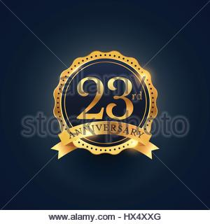 23rd anniversary celebration badge label in golden color - Stock Photo