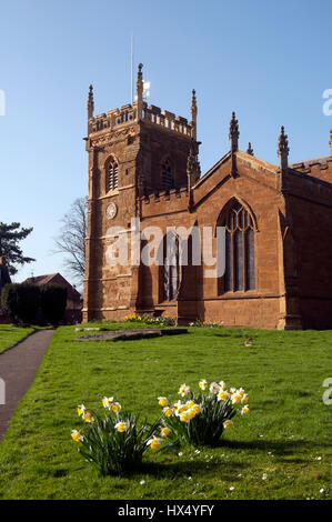 St. Peter`s Church in spring, Kineton, Warwickshire, England, UK - Stock Photo