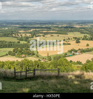 Looking east over the South Downs National Park from Chanctonbury Ring in West Sussex, England, UK. - Stock Photo