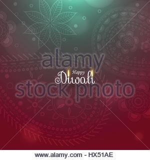 awesome diwali diya background with paisley pattern - Stock Photo