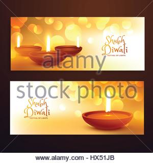 awesome set of diwali festival banners with diwali on golden background with bokeh effect - Stock Photo
