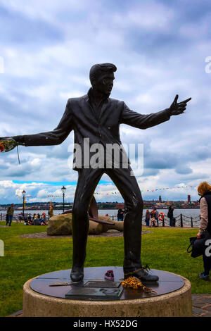 Statue of pop singer Billy Fury the Albert Dock is one of Liverpool's most important tourist attractions and part - Stock Photo