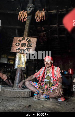 Portrait of Mateos Anin, traditional chief of Mollo people in Fatumnasi village, West timor, Indonesia. - Stock Photo