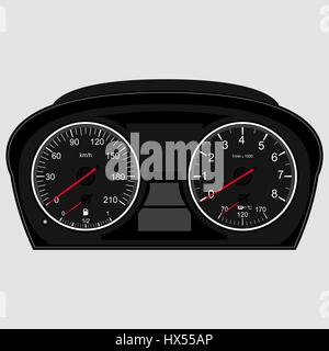 Car instrument panel,vector image of a speedometer, tachometer. Speedometer on white background. Informs the driver - Stock Photo
