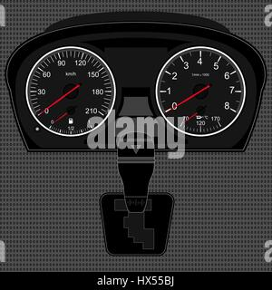 Car instrument panel,vector image of a speedometer, tachometer,gear shifter,texture of a metal - Stock Photo