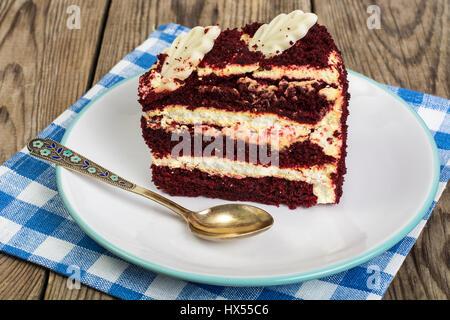 Traditional American Red Velvet Cake. Studio Photo - Stock Photo