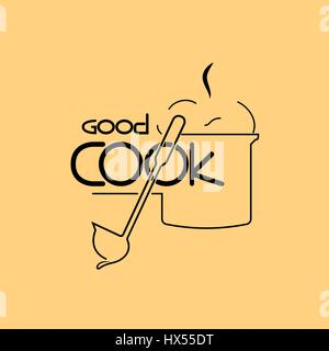 Icon good cook, a good cook logo, emblem of the line chef.