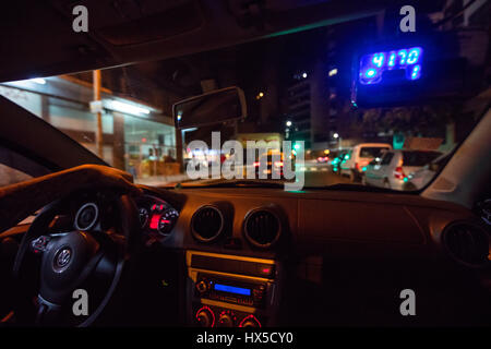 Inside a night taxi. Buenos Aires, Argentina. - Stock Photo