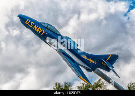 US Navy Blue Angels Grumman Cougar jet on display at Florida Welcome Center. - Stock Photo