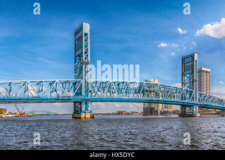 Main Street Bridge over the St Johns River in downtown Jacksonville, Florida. - Stock Photo