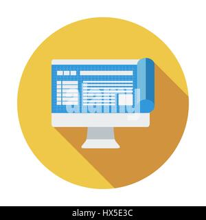 Monitor whit blueprint. Single flat color icon. Vector illustration. - Stock Photo