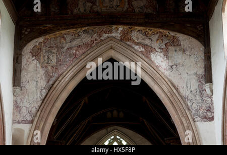 Medieval wall paintings in St. Peter`s Church, Wolferton, Norfolk, England, UK - Stock Photo