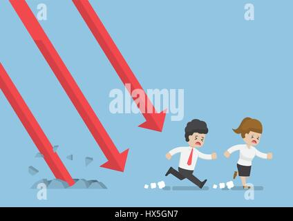 Businessman and Businesswoman Run Away From Falling Graph, Investment Risk Concept - Stock Photo