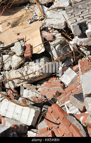 building rubble from demolished residential house - Stock Photo
