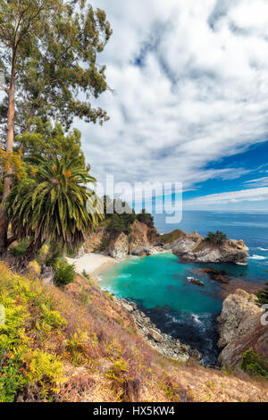 California Beach and Falls, Julia Pfeiffer Beach, McWay Falls. - Stock Photo