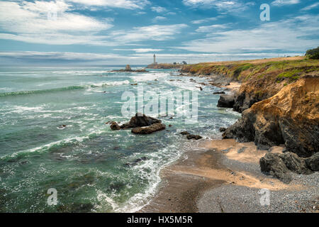 California coast and Pigeon Point Lighthouse. - Stock Photo