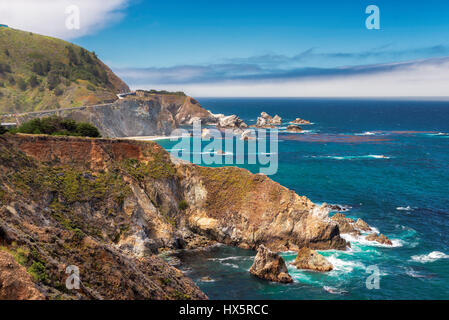 Beautiful View of the California Coastline along State Road 1. - Stock Photo