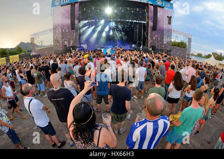 BENICASSIM, SPAIN - JUL 18: Crowd in a concert at FIB Festival on July 18, 2015 in Benicassim, Spain. - Stock Photo