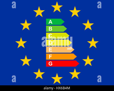 Flag of the European Union with Energy Label - Stock Photo