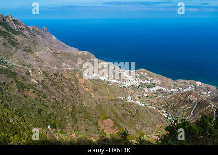 View to the village of Taganana in the Anaga Mountains in the north of Tenerife, Spain. - Stock Photo