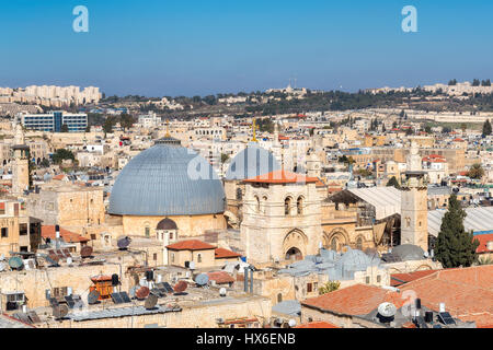 Jerusalem Old City skyline and Church of the Holy Sepulchre, Jerusalem, Israel. - Stock Photo