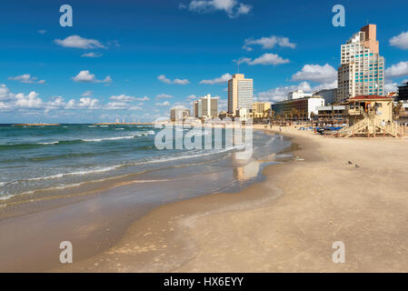 Tel Aviv coast with a view of Mediterranean sea and skyscrapers, Israel. - Stock Photo
