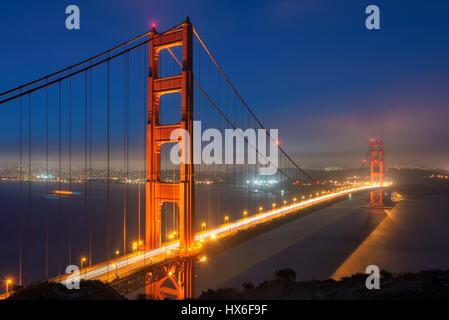 Golden Gate Bridge at night, San Francisco. - Stock Photo
