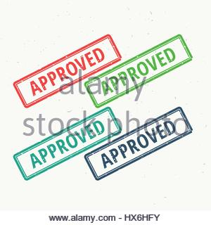 approved grungy rubber stamp set in different colors - Stock Photo