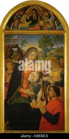 Pinturicchio, madonna della pace, 1490 circa. 143x70 cm, sanseverino marche, pinacoteca civica - Stock Photo
