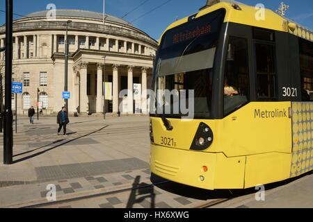 Metrolink tram in St Peter's Square in Manchester city centre. - Stock Photo