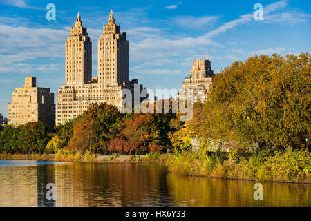 View of Upper West Side buildings and Central Park in Fall. Jacqueline Kennedy Onassis Reservoir, Manhattan, New - Stock Photo