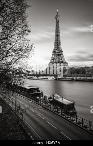 The Eiffel Tower and banks of the Seine River in Black & White. Paris, France - Stock Photo