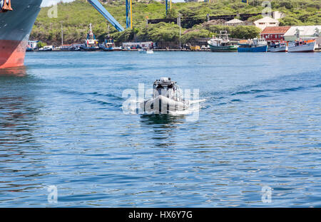 Harbor Security Boat in Curacao - Stock Photo