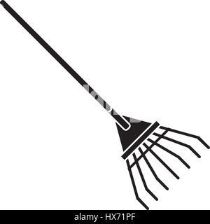 rake tool gardening pictogram - Stock Photo