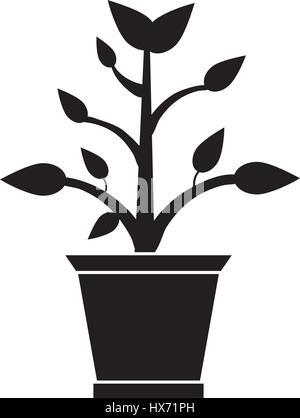 pot plant garden pictogram - Stock Photo
