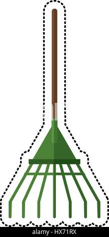 cartoon rake tool gardening image - Stock Photo