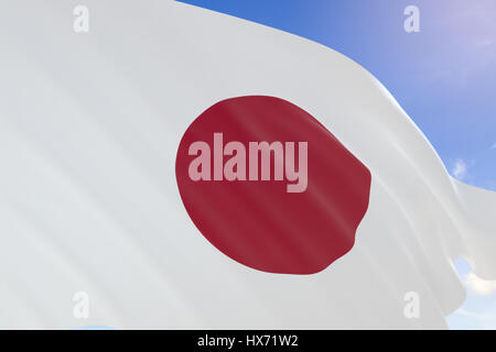 3D rendering of Japan flag waving on blue sky background, National Foundation Day. Marks the day on which according - Stock Photo