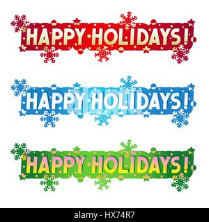 Happy Holidays! - three greetings, design elements for cards, banners, invitations, posters, isolated on white background - Stock Photo