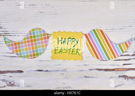 Happy Easter card, bird cutouts. - Stock Photo